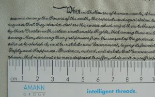 Serafil by Amann - Character heights of 2mm are possible via satin stitches (Photo: Amann)