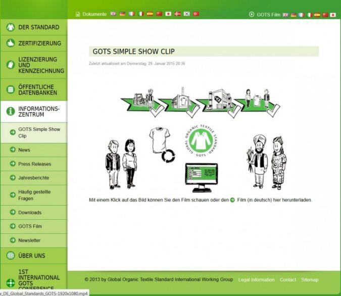 Screenshot - webside GOTS Photo: screenshot
