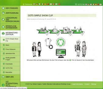 Screenshot - webside GOTS Photo: screenshot