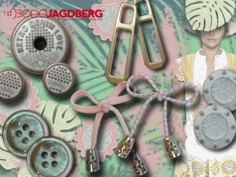 Bodo Jagdberg renders a washed or pastel look on buttons and decorative trimmings