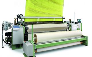 Dornier air-jet weaving machine A1 AWS 4/J G with a nominal width of 280 cm in combination with a Jacquard Stäubli LXL (Article: Airbag) Photo: Li...