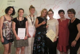 The award ceremony: (from the left to the right) Miya Budaeva, Katharina Bredlich, Jennifer von Scotti, Raffaella Pinori, Verena Winkelmann, Chiara...