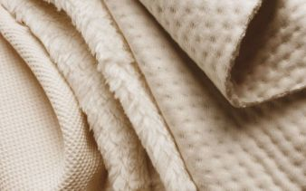 Fluffy, padded and three-dimensional best describe the organic fabrics presented by Eco Textiles Photo: Eco Textiles