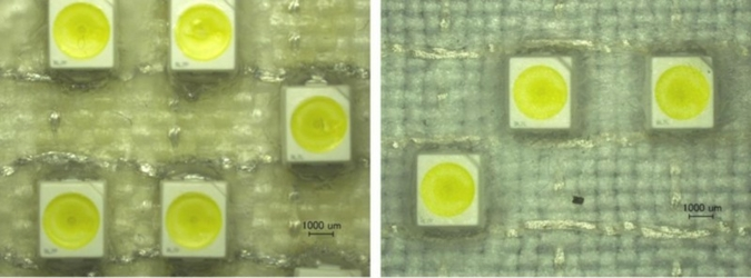 Passivation of a multilayered woven circuit arrangement with a plastic membrane using tip-coating and deep-drawing, respectively Photos: TITV Greiz