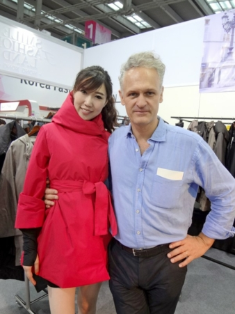 Guillaume Gaverlaux, designer of Urbahia, with a model dressed in a jacket he designed