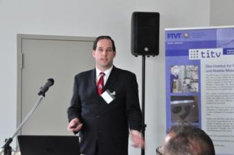 Auch Dr. Marc-Stephan Weiser von Covestro AG, Leverkusen hielt einen Vortrag zum Thema Smart Textiles in Greiz  (Photo: TITV Greiz)