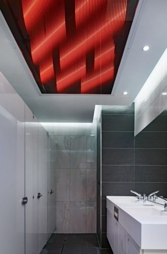 A representative from the high-tech textile materials area: the photometric special fabric Ettlin lux, which generates 3D luminous structures under...