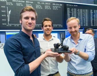 Zalando's management board on the first day of stock market trading