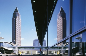 The fair tower is emblem of the city Frankfurt and of the Messe Frankfurt